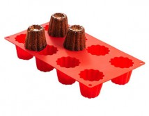 MOULE A CANNELES SILICONE ROUGE LEKUE