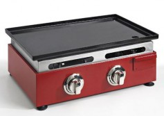 PLANCHA GAZ 60 CM ROUGE FONTE EMAILLEE SIMOGAS