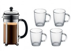 CAFETIERE A PISTON 8 TASSES + 4 MUGS CHAMBORD