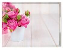 PLATEAU PINK ROSES. 40 X 31 CM. EMSA